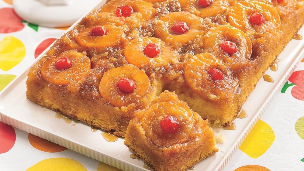 Crushed Pineapple Upside Down Cake  Peachy Pineapple Upside Down Cake recipe from Pillsbury