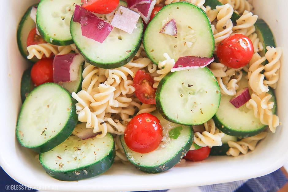 Cucumber Pasta Salad  The Best Cucumber Pasta Salad Gluten Free