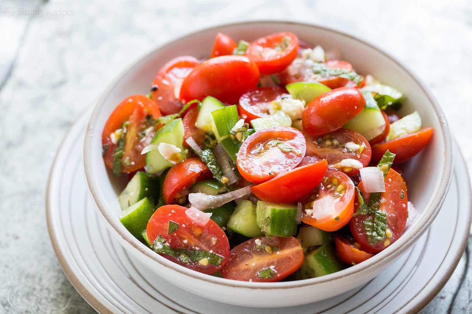 Cucumber Tomato Salad Recipe  Tomato Cucumber Feta Salad Recipe