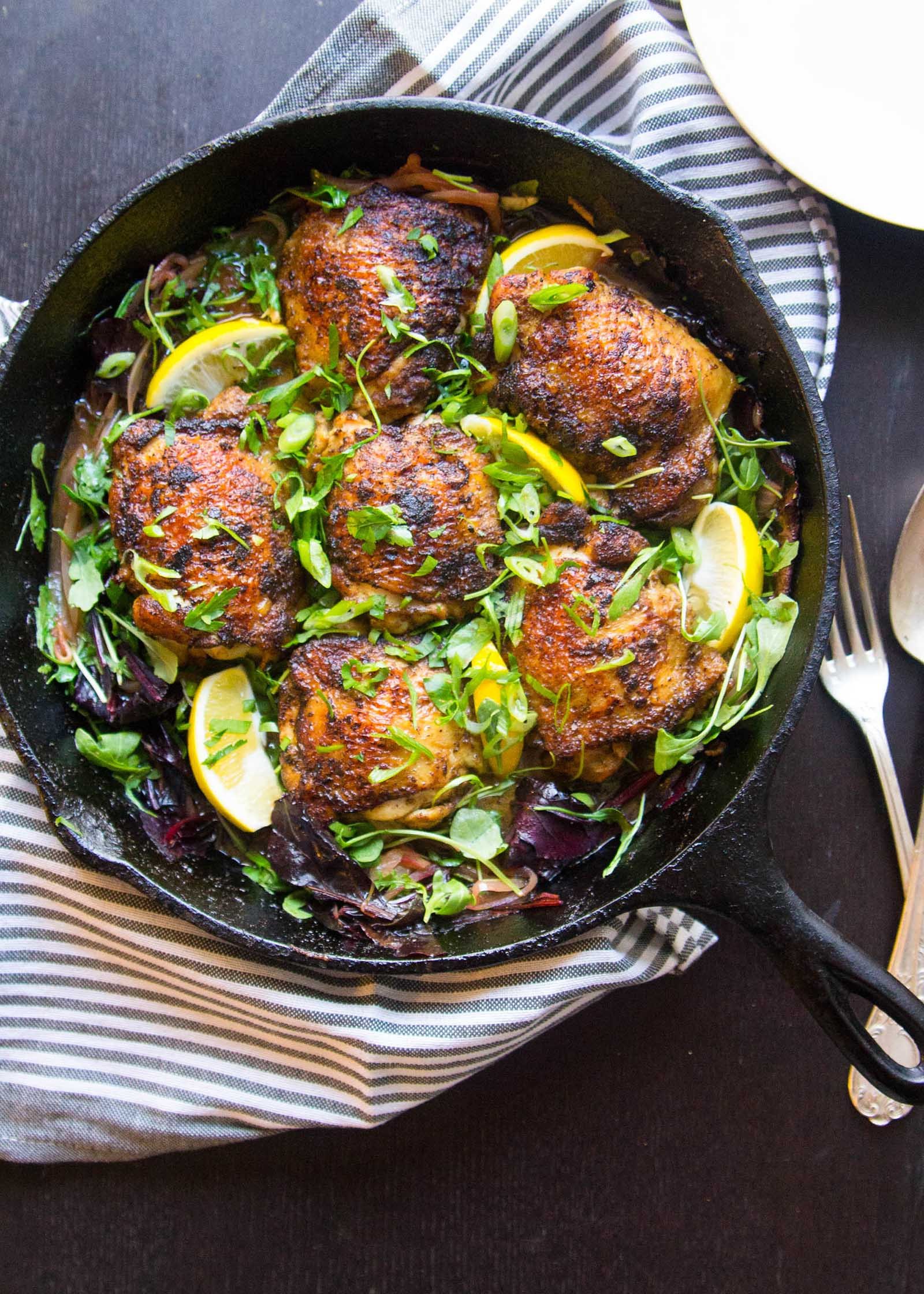 Curried Chicken Thighs  Crispy Curried Chicken Thighs with Wilted Greens Recipe