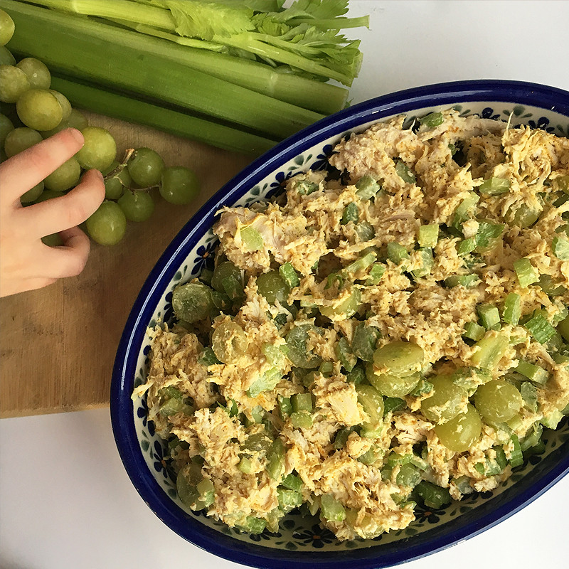 Curry Chicken Salad With Grapes  curry chicken salad with grapes and celery Fit Mama Real