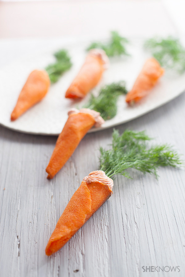 Cute Easter Appetizers  Cute carrot cones filled with salmon mousse