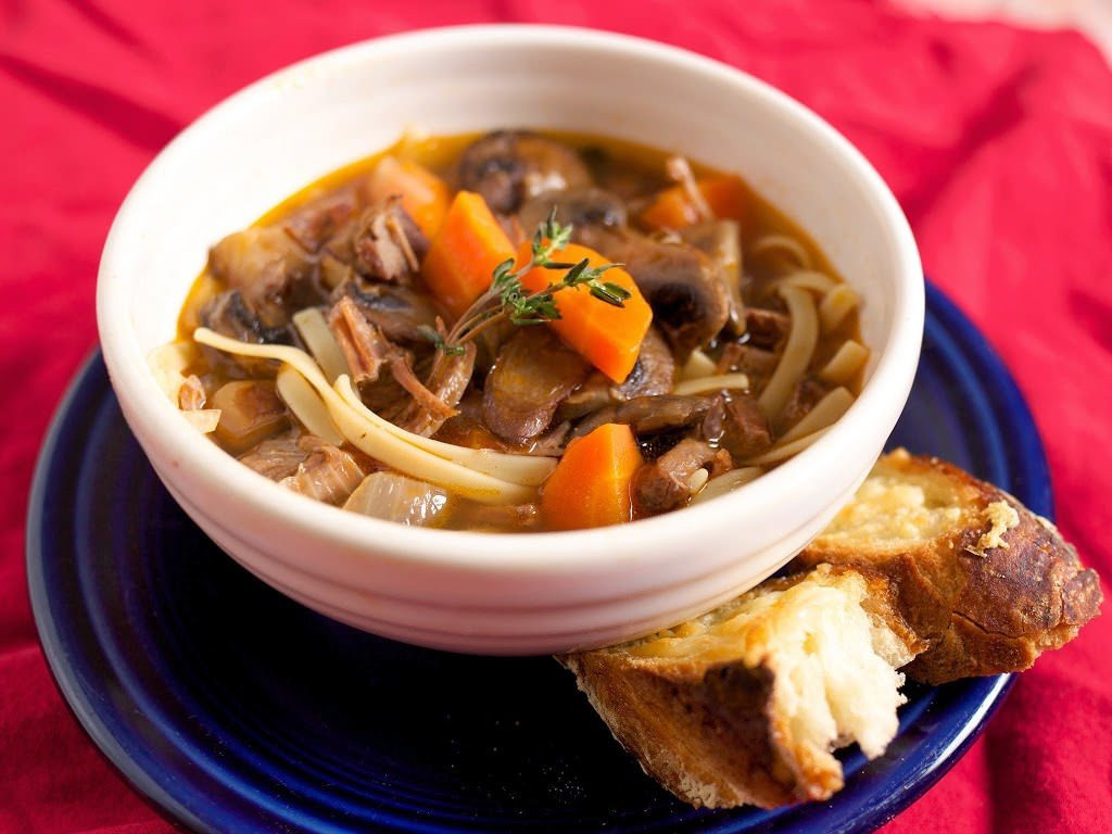 Dad Cooks Dinner  Pressure Cooker Beef Noodle Soup with Mushrooms and