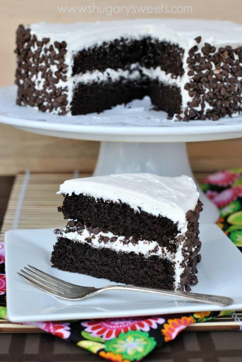 Dark Chocolate Cake  Dark Chocolate Cake with Vanilla Frosting Shugary Sweets