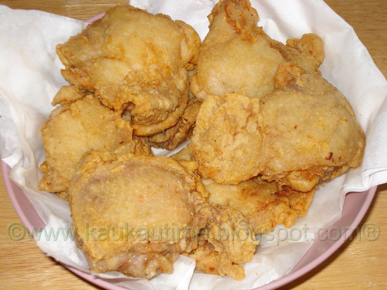 "Deep Fried Chicken Thighs  KAUKAU TIME ""Kaukau"" is a Hawaiian pidgin slang word"
