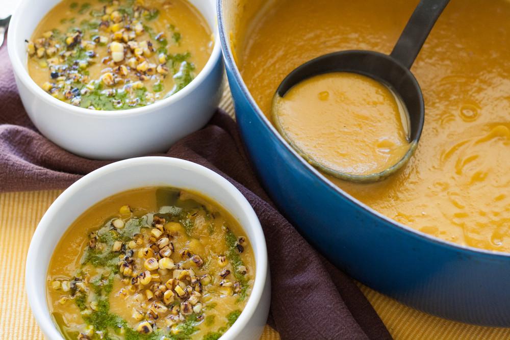Delicata Squash Soup  Delicata Squash Soup with Charred Corn and Cilantro Oil