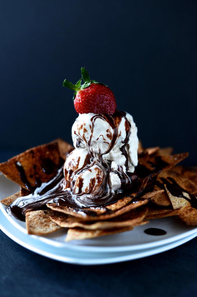Dessert Ice Cream  Vegan Dessert Nachos with Coffee Ice Cream