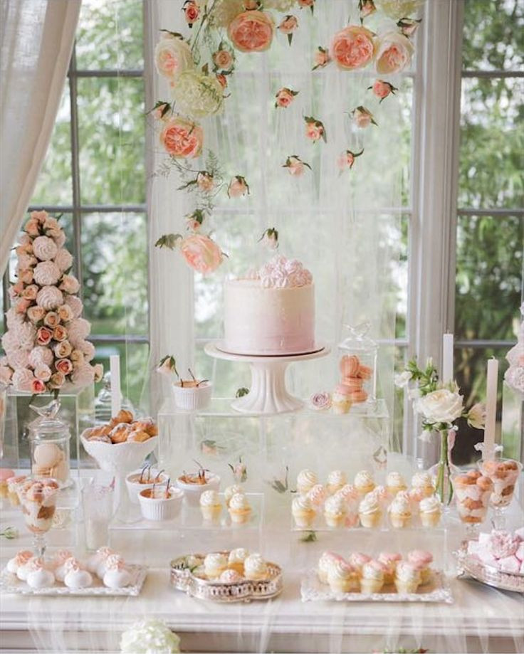Dessert Table Backdrop  Peach and blush wedding dessert table with macarons and