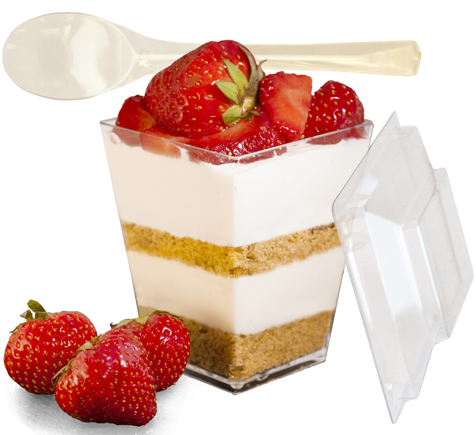 Desserts In A Cup  Dessert Cups with Lids and Spoons Plastic 30 PACK Clear