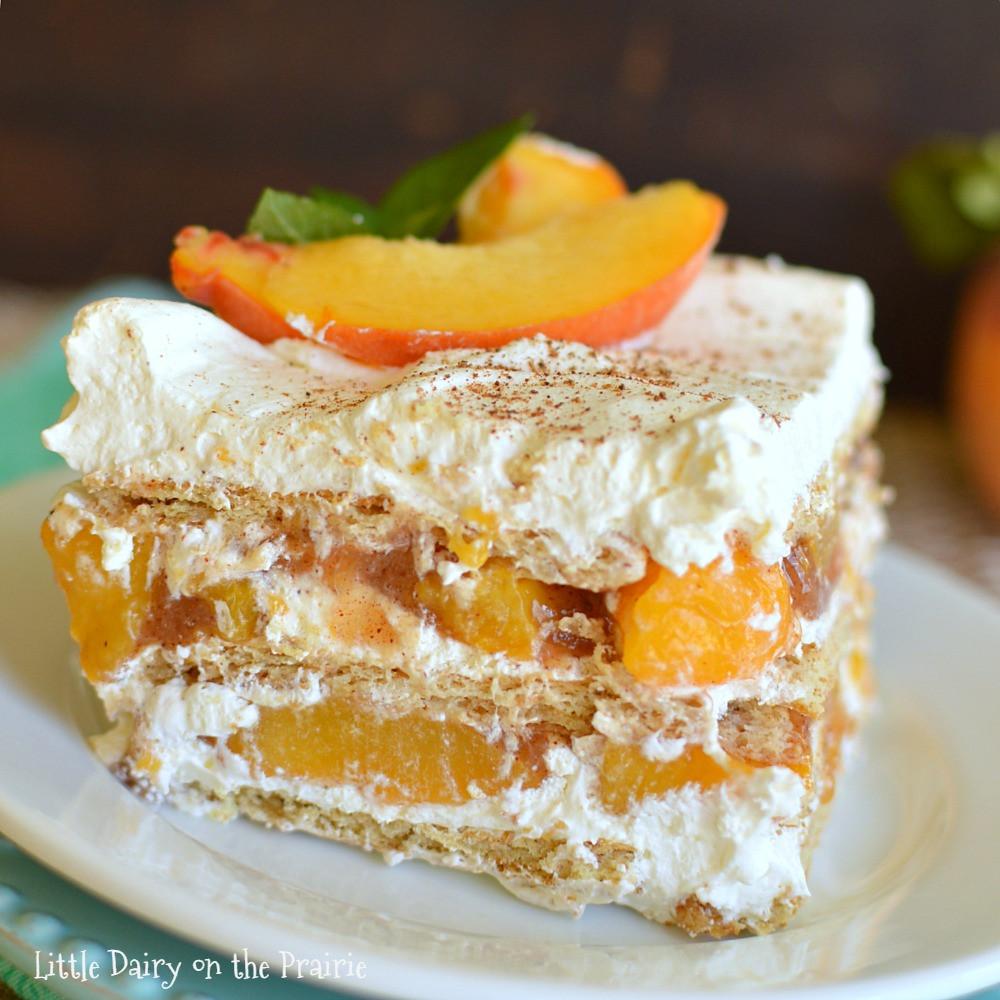 Desserts With Peaches  No Bake Peach Icebox Cake Little Dairy the Prairie