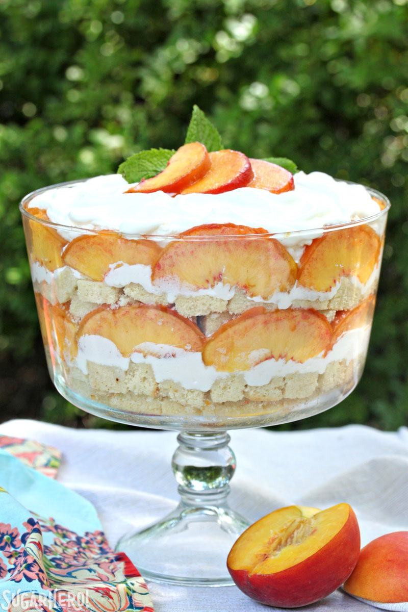 Desserts With Peaches  Peaches and Cream Trifle SugarHero