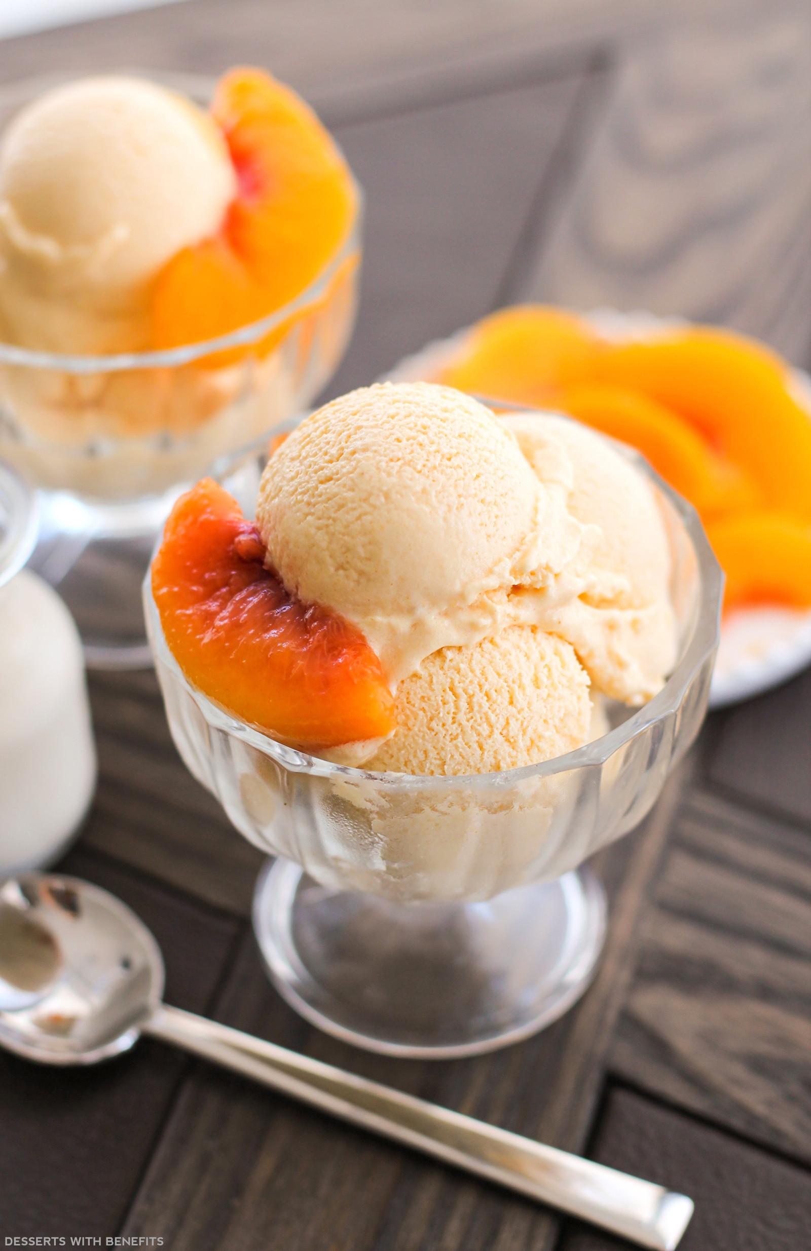 Desserts With Peaches  Healthy Peaches and Cream Ice Cream Recipe No Sugar Added