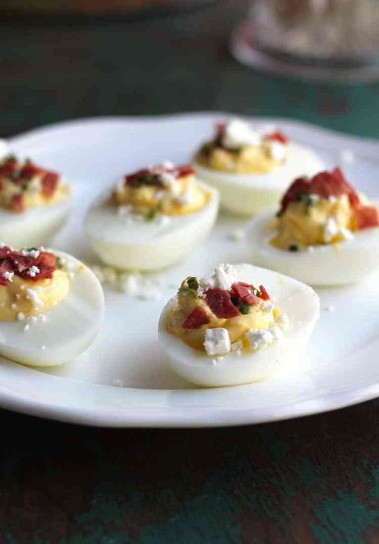 Deviled Eggs Thanksgiving  Lightened Up Feta and Turkey Bacon Deviled Eggs