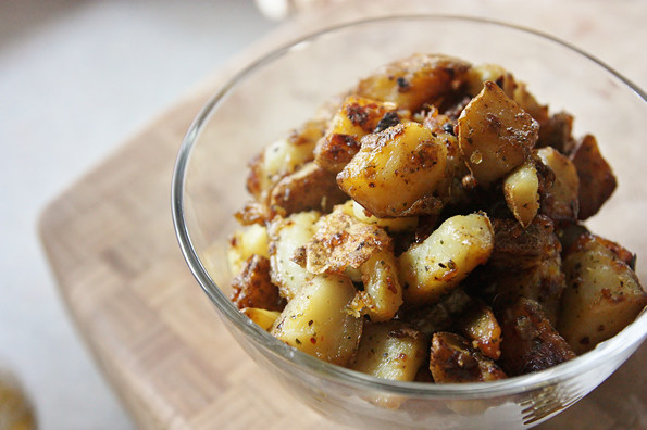 Diced Breakfast Potatoes  Fried breakfast potatoes with poached egg A Series of