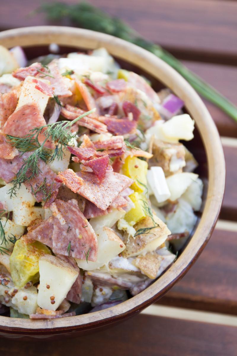Dill Pickle Potato Salad  Meaty Dill Pickle Potato Salad Recipe SoFabFood