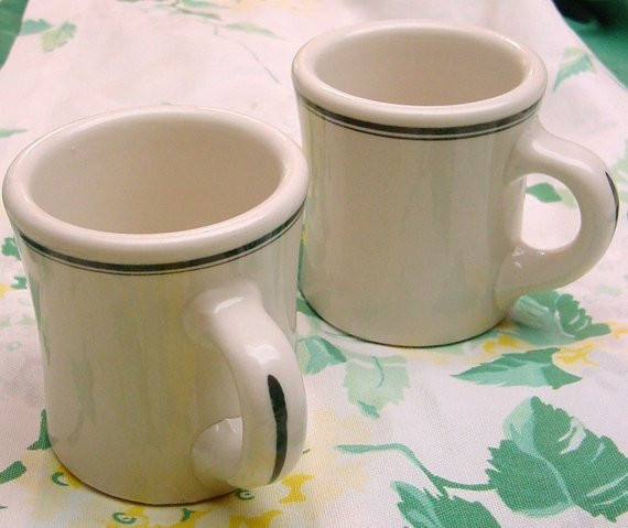 Dinner Coffee Mugs  TWO DINER MUGS heavy restaurant china coffee mugs with green