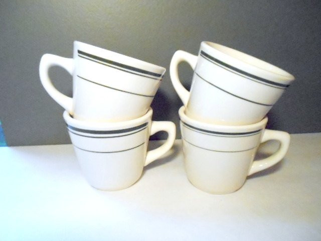Dinner Coffee Mugs  Vintage Restaurant Coffee Mugs Cups Lot of 4 by