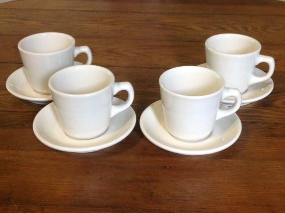 Dinner Coffee Mugs  Set of 4 Buffalo China diner coffee tea cups mugs and saucers