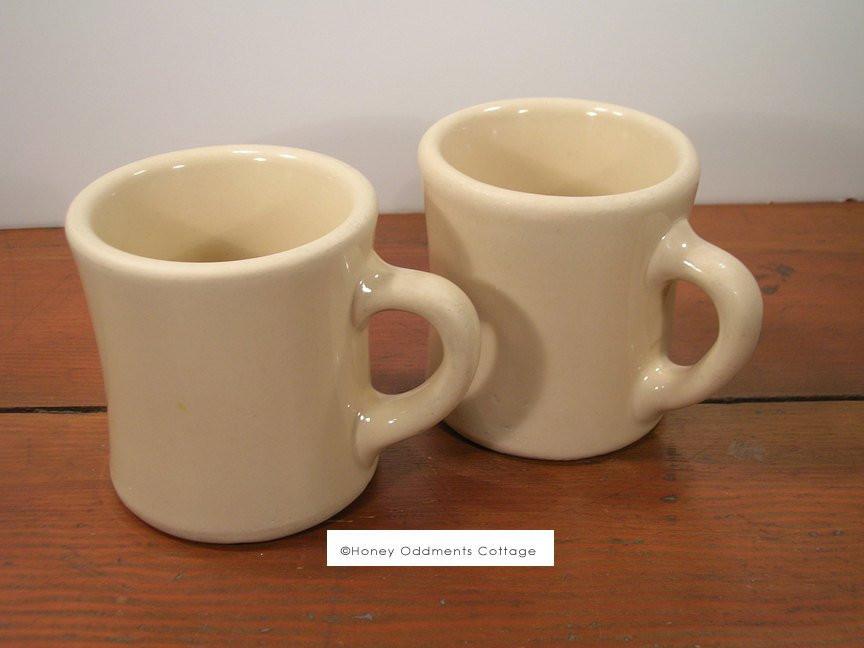 Dinner Coffee Mugs  Victor 6 ounce Vintage Diner Coffee Mugs Light Tan
