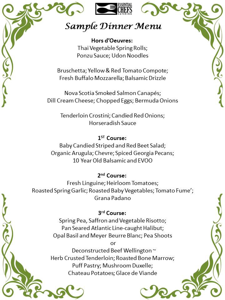 Dinner Party Menu Ideas  Plated Dinner Party Essential Chefs Catering
