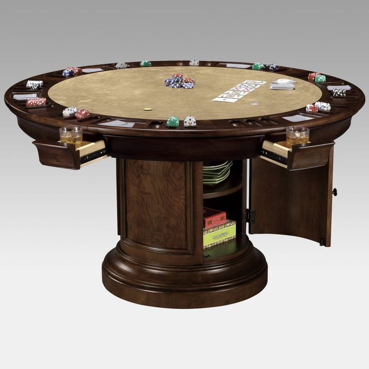 Dinner Table Game  Round Dining Table that converts to Game Table Use