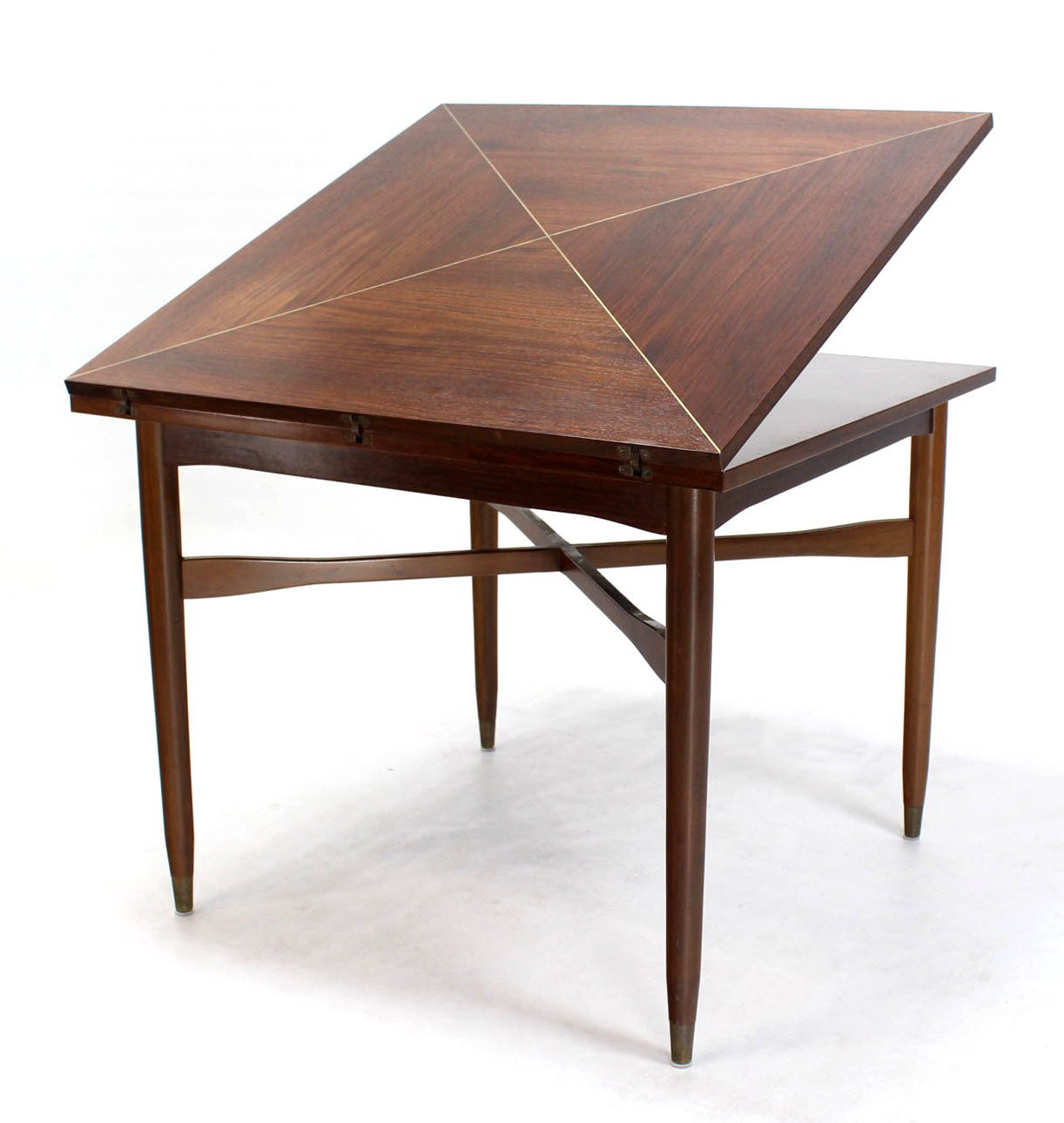 Dinner Table Game  Walnut Top with Brass Inlay Mid Century Modern Expandable