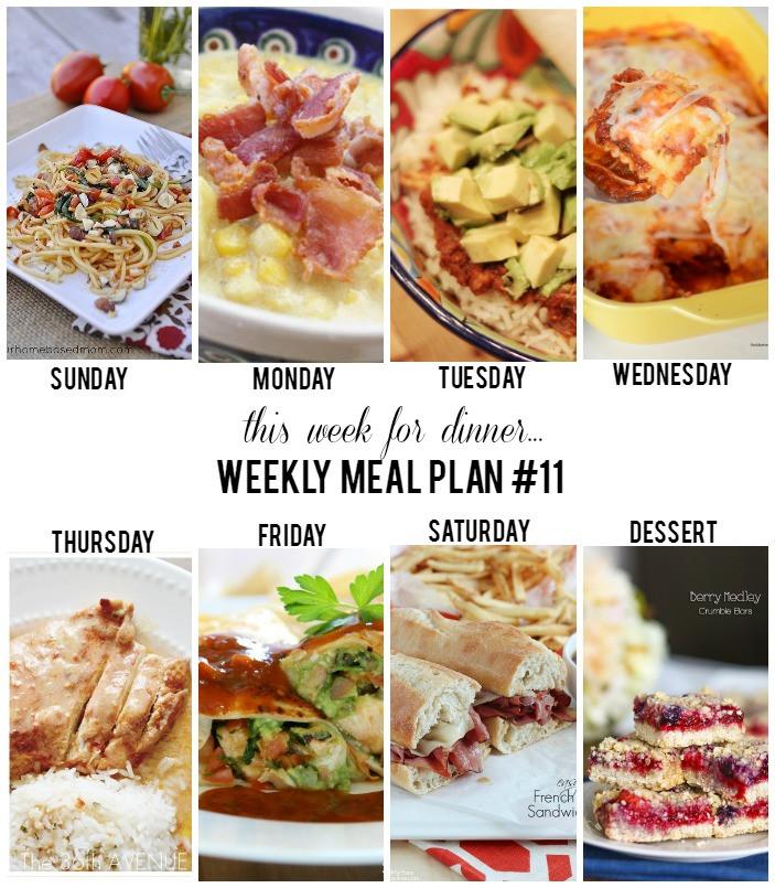 Dinner This Week  This Week for Dinner Weekly Meal Plan Week 11 Thirty