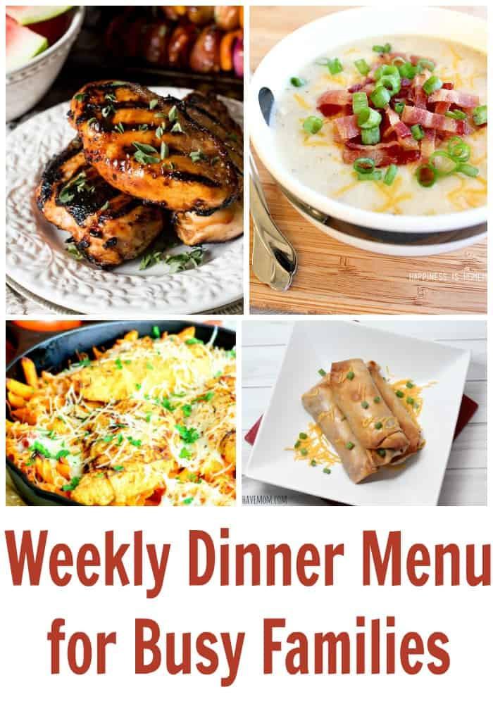 Dinner This Week  Weekly Dinner Menu For Busy Families Weekly Meal Plan