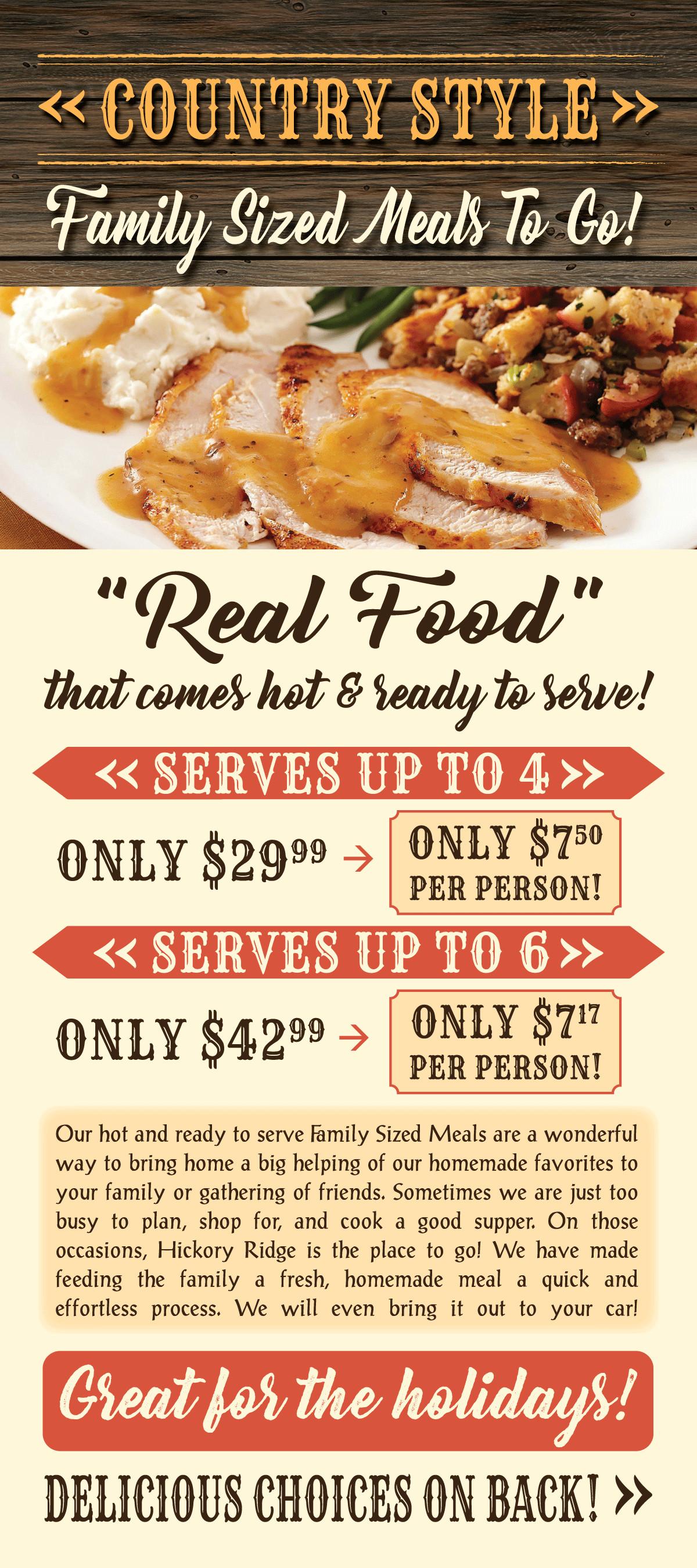 Dinner To Go  Family Sized Meals To Go Hickory Ridge Restaurant
