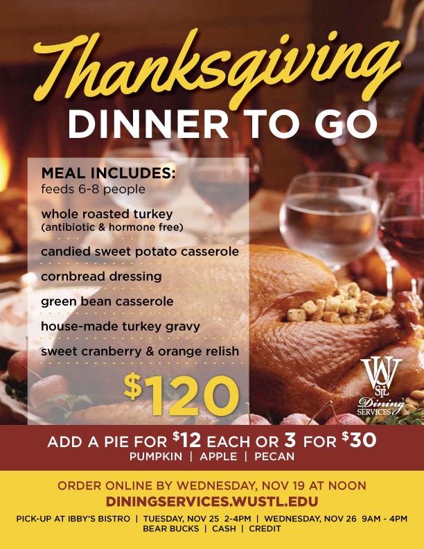 Dinner To Go  Order your Thanksgiving Dinner To Go
