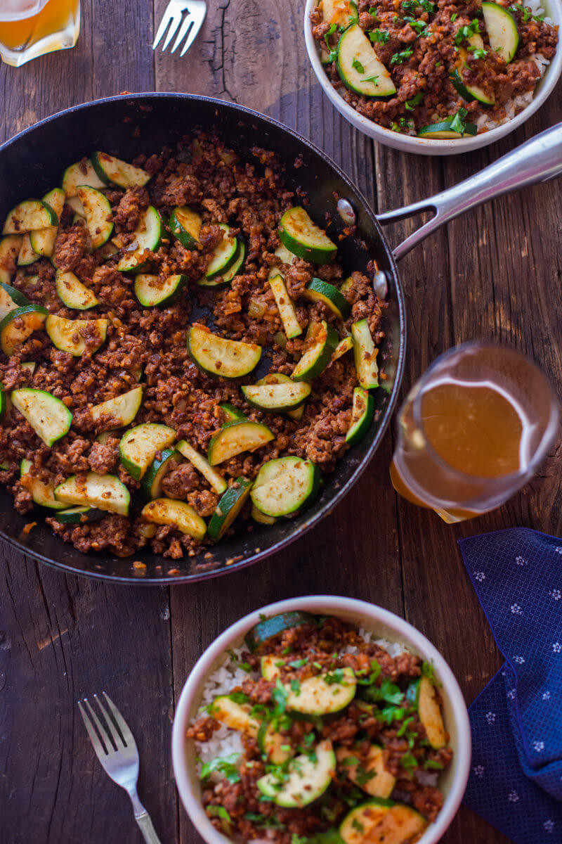 Dinner With Ground Beef  Zucchini Beef Skillet Recipe a e Pot Paleo Dinner