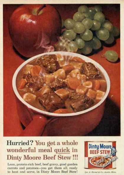 Dinty Moore Beef Stew Recipe  Vintage Food Advertisements of the 1960s Page 10