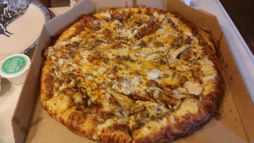 Dominos Bbq Chicken Pizza  Memphis BBQ chicken with sausage and philly steak added Yelp