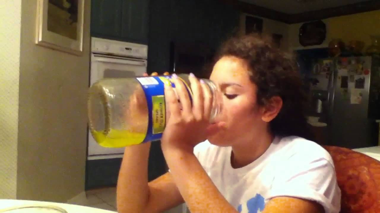 Drinking Pickle Juice  Girl Drinking Pickle Juice and Liking it