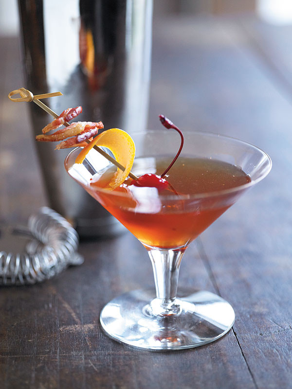 Drinks Made With Bourbon  Recipe Bacon Manhattan Cocktail With Bacon Infused