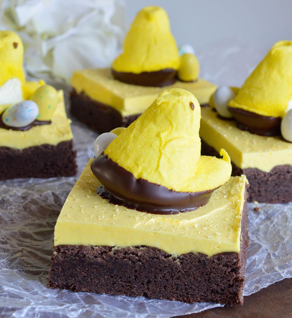 Easter Dessert Recipes  Peeps Chocolate Cake Bars Recipe WonkyWonderful