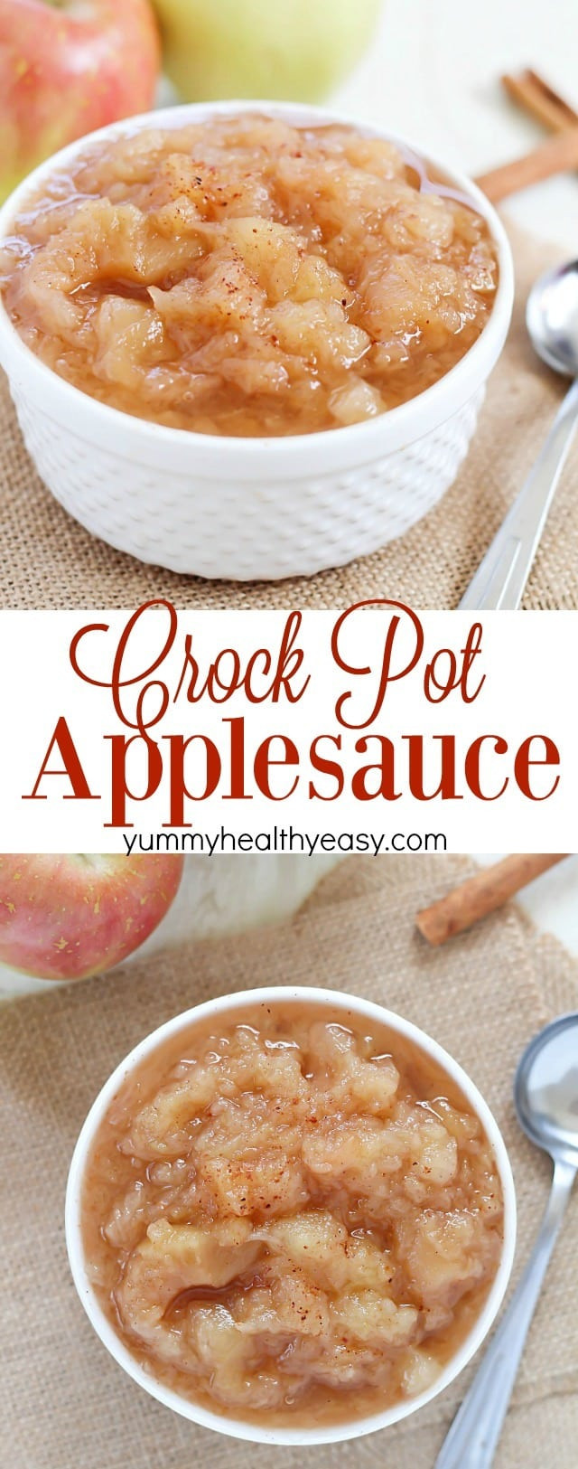 Easy Applesauce Recipe  Homemade Crock Pot Applesauce Yummy Healthy Easy