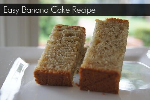 Easy Banana Cake  banana cake ingre nts and recipe