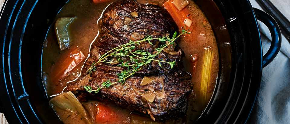 Easy Beef Brisket Slow Cooker Recipe  Slow Cooker Brisket Recipe with Red Wine Thyme and ions