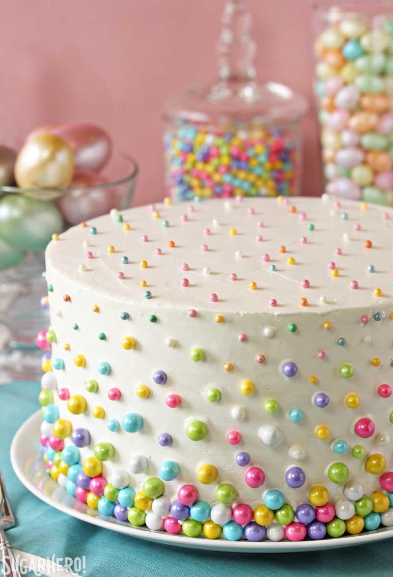 Easy Birthday Cake Ideas  Easter Polka Dot Cake SugarHero