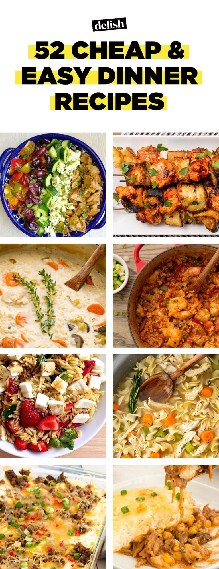 Easy Cheap Dinners  52 Easy Cheap Recipes – Inexpensive Food Ideas—Delish