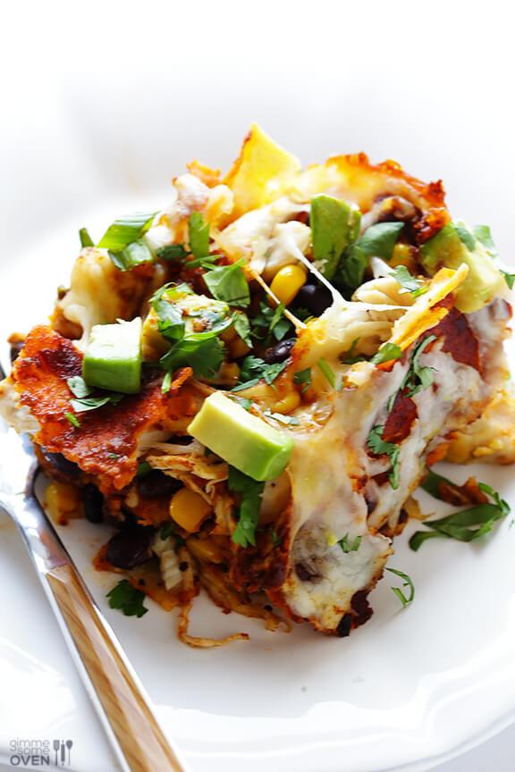"""Easy Chicken Enchilada Casserole  Chicken Enchilada Casserole a k a """"Stacked"""" Chicken"""