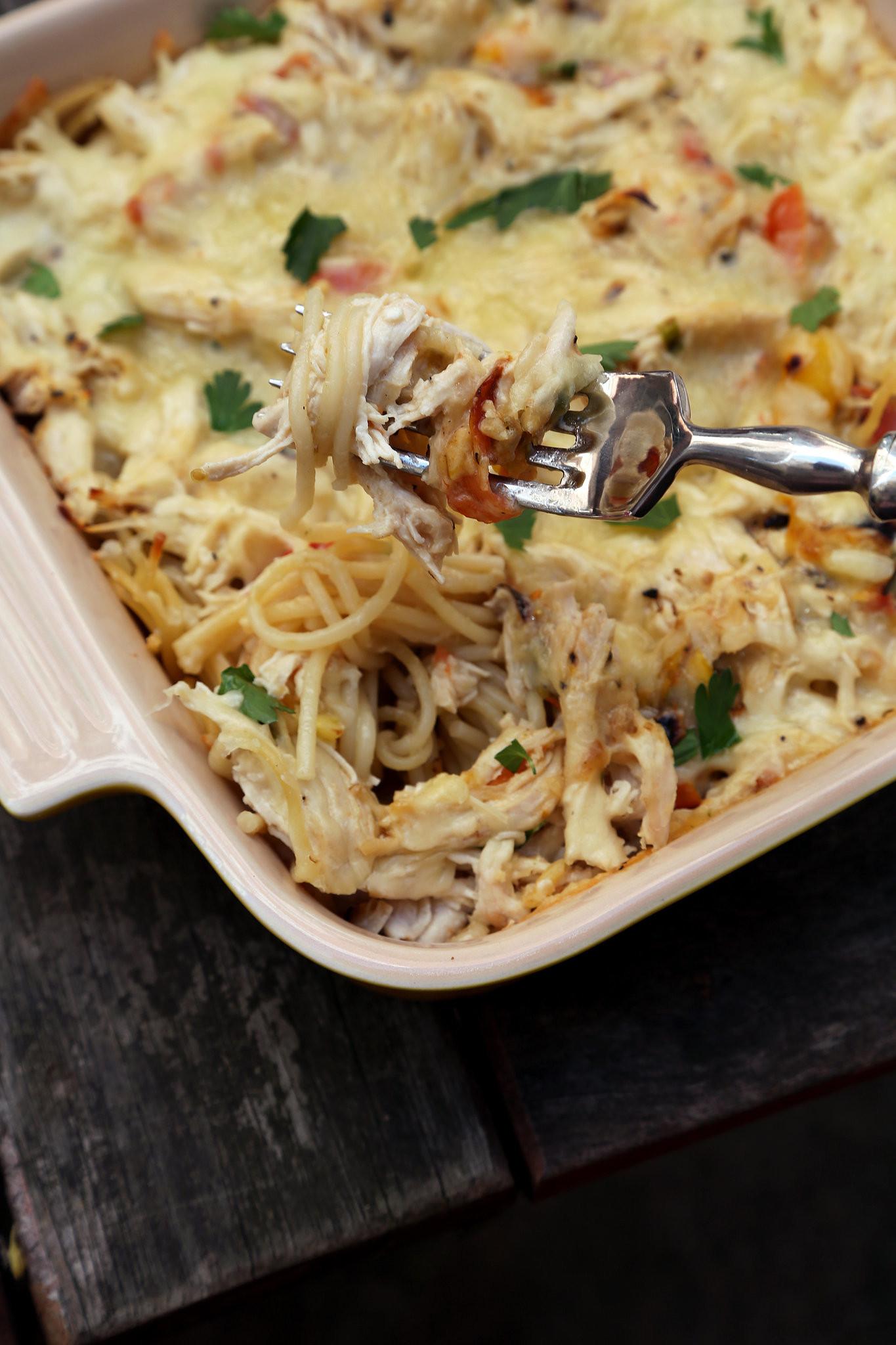 Easy Chicken Pasta Casserole  Chicken Spaghetti Casserole Recipe