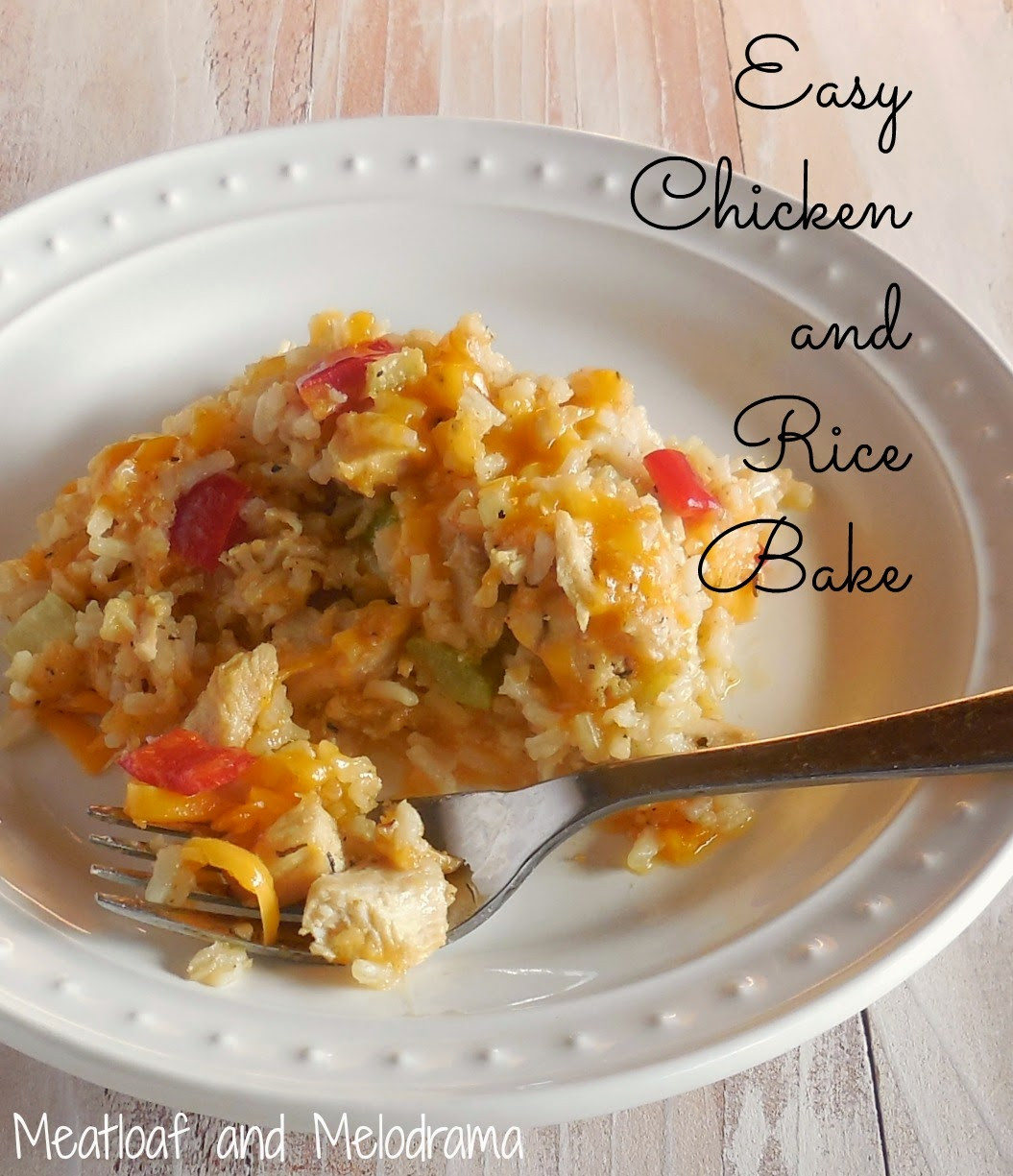 Easy Chicken Rice Casserole  Easy Chicken and Rice Bake Meatloaf and Melodrama