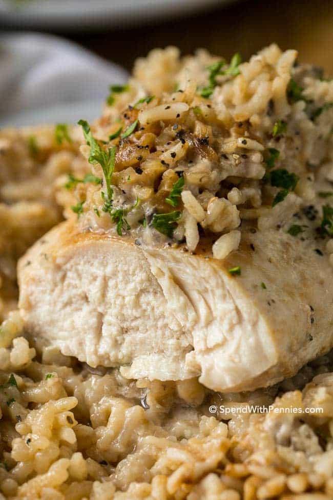 Easy Chicken Rice Casserole  4 Ingre nt Chicken Rice Casserole Spend With Pennies