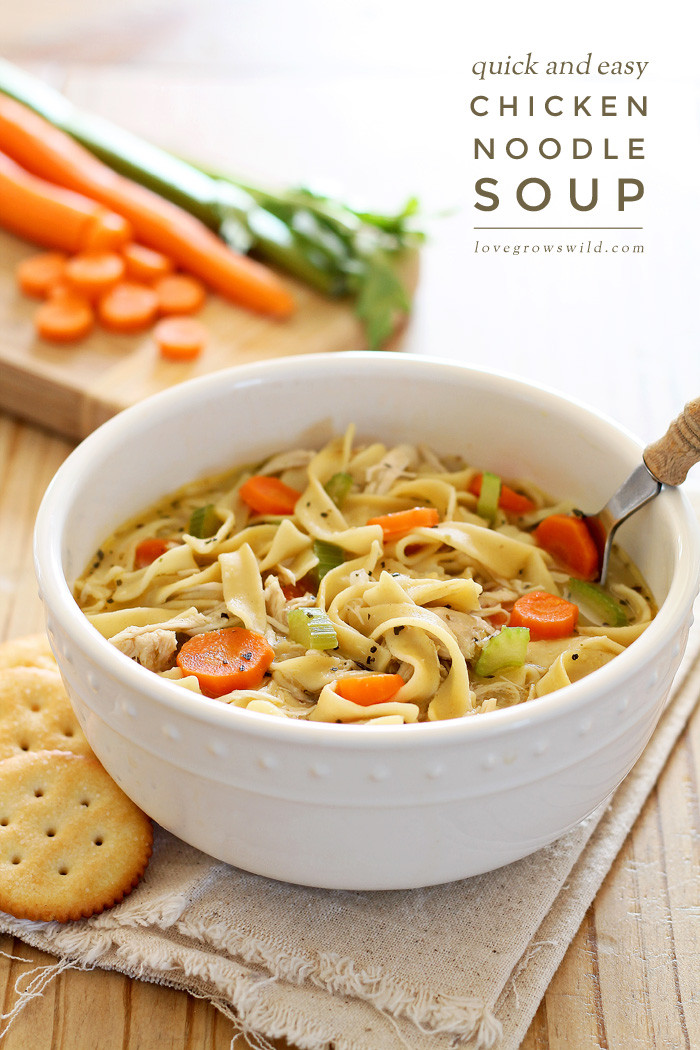 Easy Chicken Soup  Quick and Easy Chicken Noodle Soup Love Grows Wild