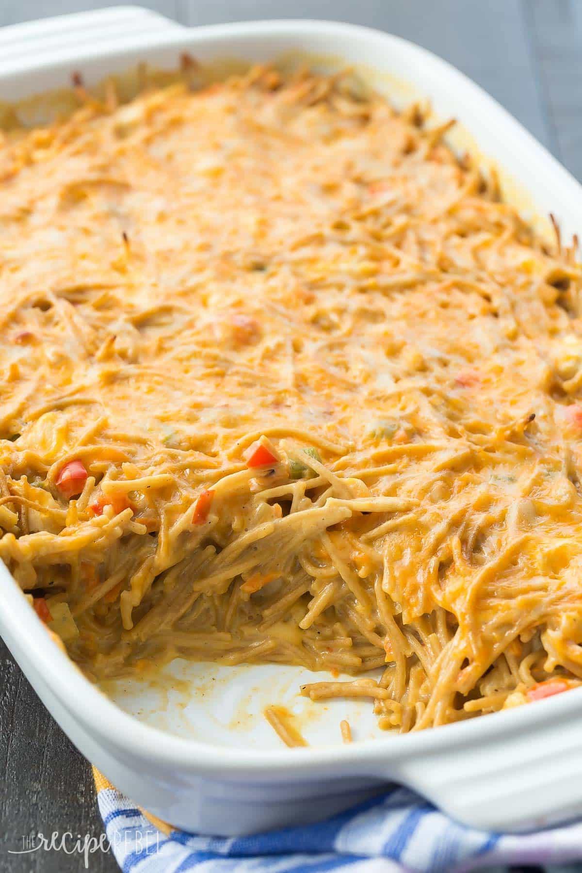 Easy Chicken Spaghetti  Healthier Creamy Chicken Spaghetti Bake Recipe VIDEO