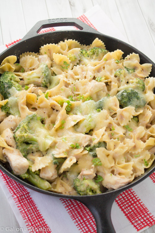 Easy Chicken Spaghetti Casserole  Chicken Broccoli & Pasta Skillet Casserole Gal on a
