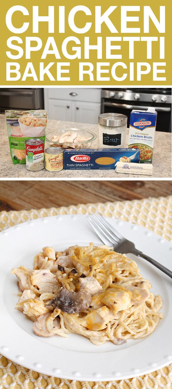Easy Chicken Spaghetti Casserole  Chicken Spaghetti Bake How to Nest for Less™