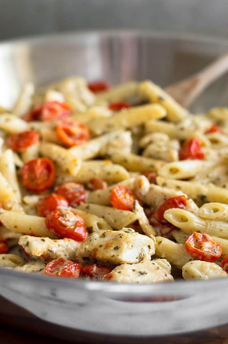 Easy Chicken Spaghetti  Easy Pesto Chicken Pasta for Two With Oven Roasted